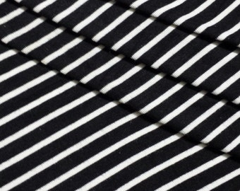 "Black Rayon Jersey Knit with 1/8th"" White Stripes Fabric for Maxi Dress, Maternity Gowns,Newborn Photo Backdrop, Scarves, and more- 904"