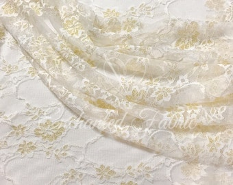 STRETCH LACE FABRIC | Bridal Lace | Floral Lace | Vintage Lace Fabric | Newborn Stretch Lace Wrap | 1301 Off White Gold