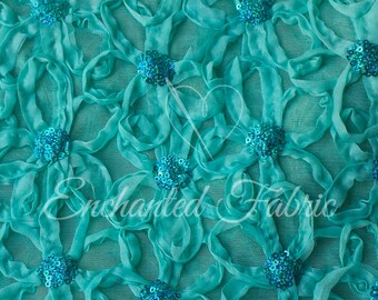 Aqua Embroidered Floral Tulle Mesh with roses and small Sequins Perfect for Tutus, Dresses, Newborn Photo Prop and more - 302