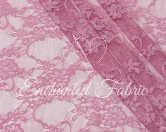 Stretch Lace | Bridal Lace | Vintage Lace | Floral Lace | Newborn Wraps | Maternity Dress Lace | Stretch Lace Fabric | 1301 Pink Berry