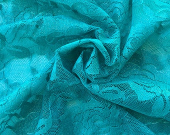 STRETCH LACE FABRIC | Bridal Lace | Floral Lace | Vintage Wedding Lace Fabric | Maternity Dress Lace | Wedding Lace | 1307 Jade Gold