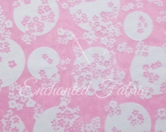 Pink and White Floral Pattern Woven Fabric by the yard for accessories, Children's Posing Prop Blanket, Newborn Photo prop Backdrop - 801