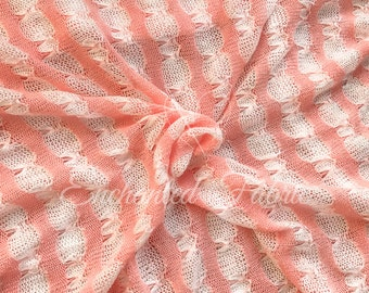 Coral Sweater Knit Fabric | Newborn Beanbag Backdrop | Swaddle Wrap | Baby Wrap | Stretchy Knit Layer | Ready To Ship- 224 Peach