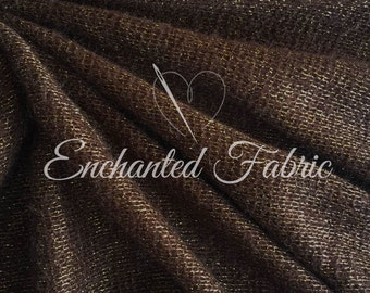 Soft and Cuddly Open Knit Baby Wrap, Baby Props, Baby Backdrop Knit Fabric for Newborn Photography Fabric with Gold Lurex Yarn - 202 Brown