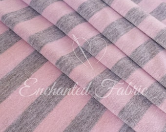 "Pink and Gray 1/2"" Striped Rayon Jersey Knit Fabric for Baby Wrap, Maxi Dress Fabric,Backdrop Fabric Newborn Photography and Apparel - 213"