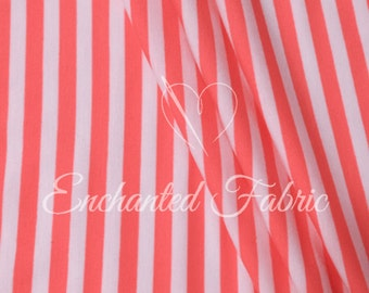 "White and Coral 1/4"" Striped Rayon Jersey Knit Fabric for Maxi Dress, Maternity Gowns,Newborn Photo Backdrop, Scarves, and more- 905 Coral"