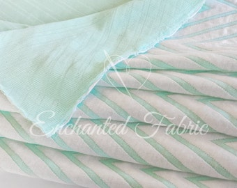 White and Mint Chevron Double Knit Fabric 214
