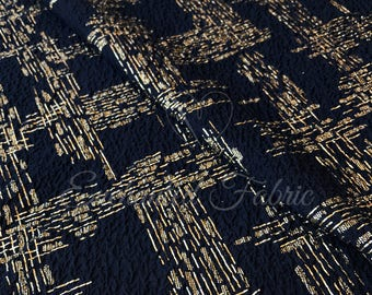 Navy with Gold Lurex knit Fabric - Style 229
