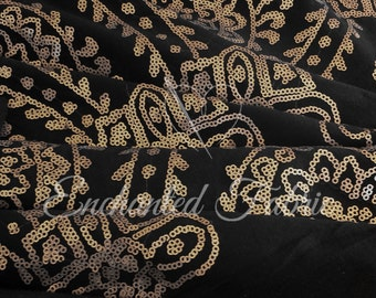 Gold Sequined Damask Pattern on Black Jersey Knit Fabric for Apparel, Cocktail Dress, and more - 907