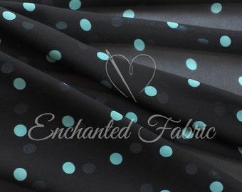 Black Sheer Chiffon Fabric with Aqua Polka Dots for Prom, Bridesmaid Dresses, Maxi Skirts, Maternity Gowns, Backdrops, and Apparel- 103