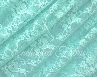 Stretch Lace | Bridal Lace | Vintage Lace | Floral Lace | Newborn Wraps | Maternity Dress Lace | Stretch Lace Fabric | 1301 Aqua