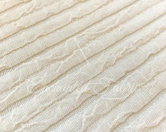 Oatmeal Shiny knit with Crinkle Stripes Novelty Fabric for Apparel, home decor, Newborn Backdrop Photography and more- Style 225 Oatmeal