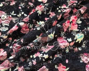 STRETCH LACE FABRIC   Black Lace  Floral Lace   Bridal Lace   Vintage Lace   Maternity Dress Lace   Newborn Stretch Wraps   1301 Black Pink