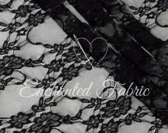 Stretch Lace | Bridal Lace | Vintage Lace | Floral Lace | Maternity Dress Lace | Newborn Wraps | Stretch Lace Fabric | 1301 Black