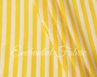 "White and Yellow 1/4"" Striped Rayon Jersey Knit Fabric for Maxi Dress, Maternity Gowns,Newborn Photo Backdrop, Scarves, and more- 905 Yellow"
