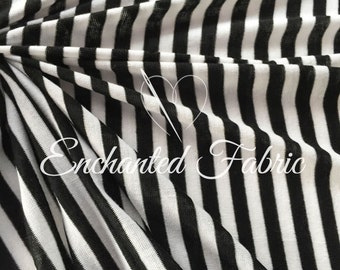 "Black and Off White 1/2"" Striped Rayon Jersey Knit Fabric for Baby Wrap,Baby Backdrop Fabric for Newborn Photography and Apparel - 209"