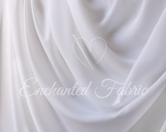 Prom Wedding Bridal Dress White Sheer Chiffon Fabric for Bridesmaids Dresses, Maternity Gowns, Dresses, and other Apparel - Style 101
