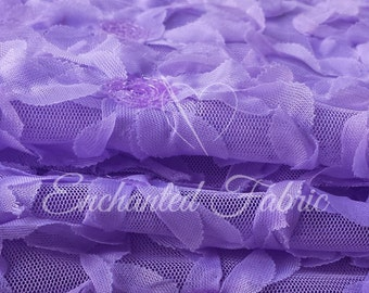 Lavender Embroidered Floral Tulle Mesh with flowers and small Sequins Perfect for Tutus, Dresses, Newborn Photo Prop and more - 302