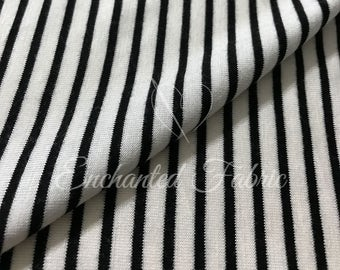 "Stretchy Off White Poly rayon Jersey Knit with 1/8th"" Black Stripes Fabric for Maxi Dress, Maternity dress,Photo Backdrop, Scarves - 912"