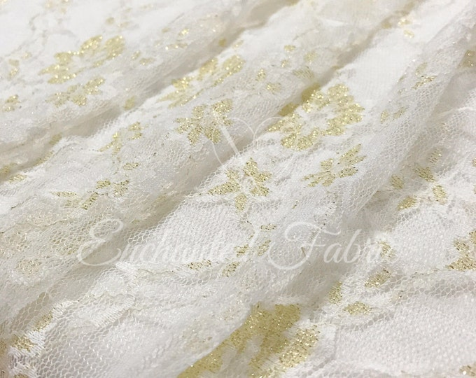 Featured listing image: STRETCH LACE FABRIC | Bridal Lace | Floral Lace | Vintage Lace Fabric | Newborn Stretch Lace Wrap | 1301 Off White Gold