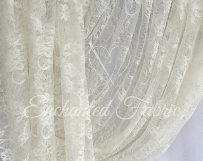 Featured listing image: Stretch Lace | Bridal Lace | Vintage Lace | Floral Lace | Newborn Wraps | Maternity Dress Lace | Stretch Lace Fabric | 1301 Ivory