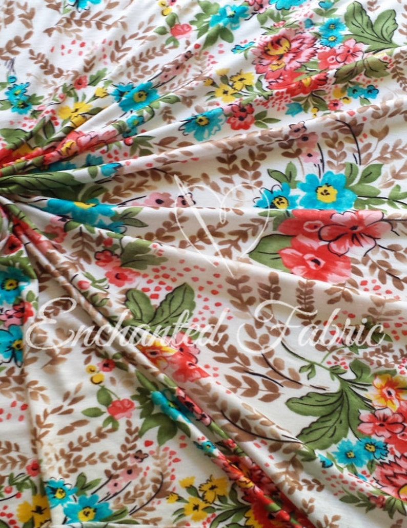 Floral Printed Rayon Jersey Knit Fabric for Maxi Skirts floral skirt Maxi Dress Maternity apparel Infinity Dress fabric and more- 1901