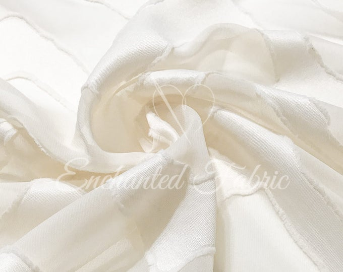 Featured listing image: Sheer Textured Chiffon Fabric by the yard with Organic Chevron Stripes for Dresses, Skirts, Curtains, Dance wear | 113-Cream