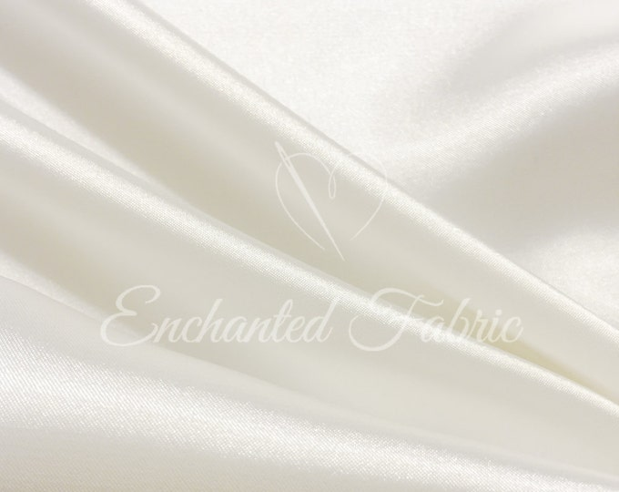 Featured listing image: Ivory Wedding Bridesmaid Dress Charmeuse Fabric for Prom, Bridesmaids Dresses, Party Decoration Fabric, Apparel, Prom Dresses - 1002