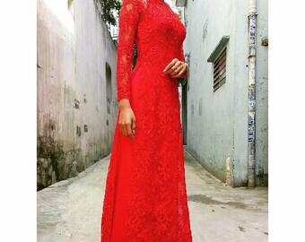 Ao dai wedding dress | Etsy