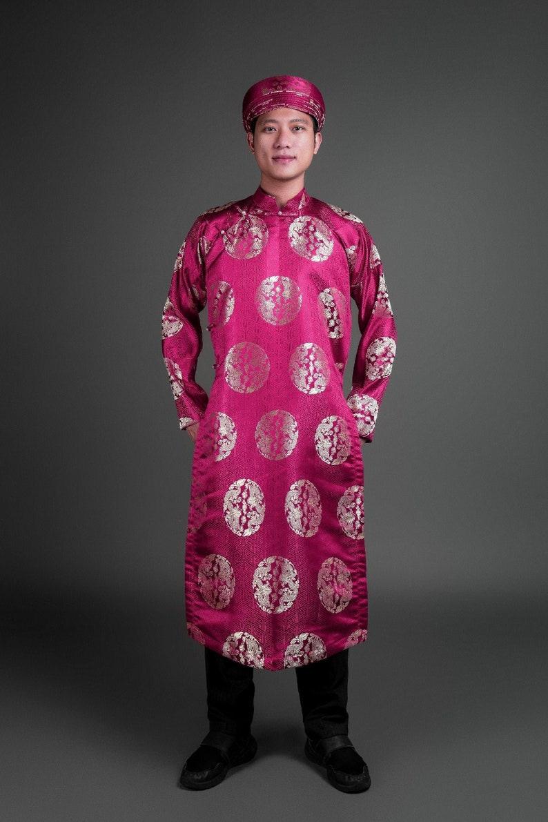 graduation etc Men/'s ao dai Vietnamese traditional tunic for wedding Wine color silk brocade fabric ao dai and matching hat  turban.