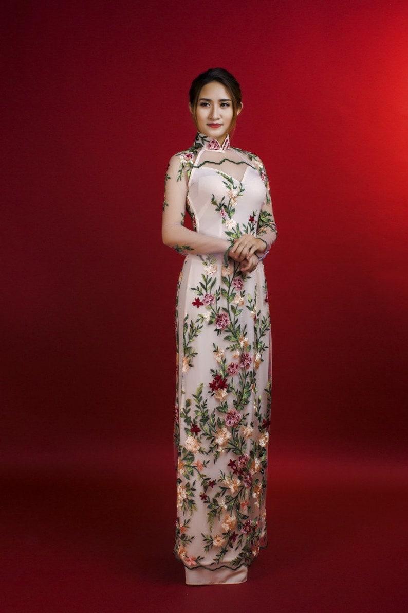 ac5b1b4b3 Pink lace and chiffon ao dai. Daffodil embroidery. | Etsy