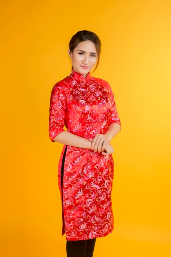 Rouge Ao Dai Robe Asiatique Vietnamien Vietnam Tunique Etsy