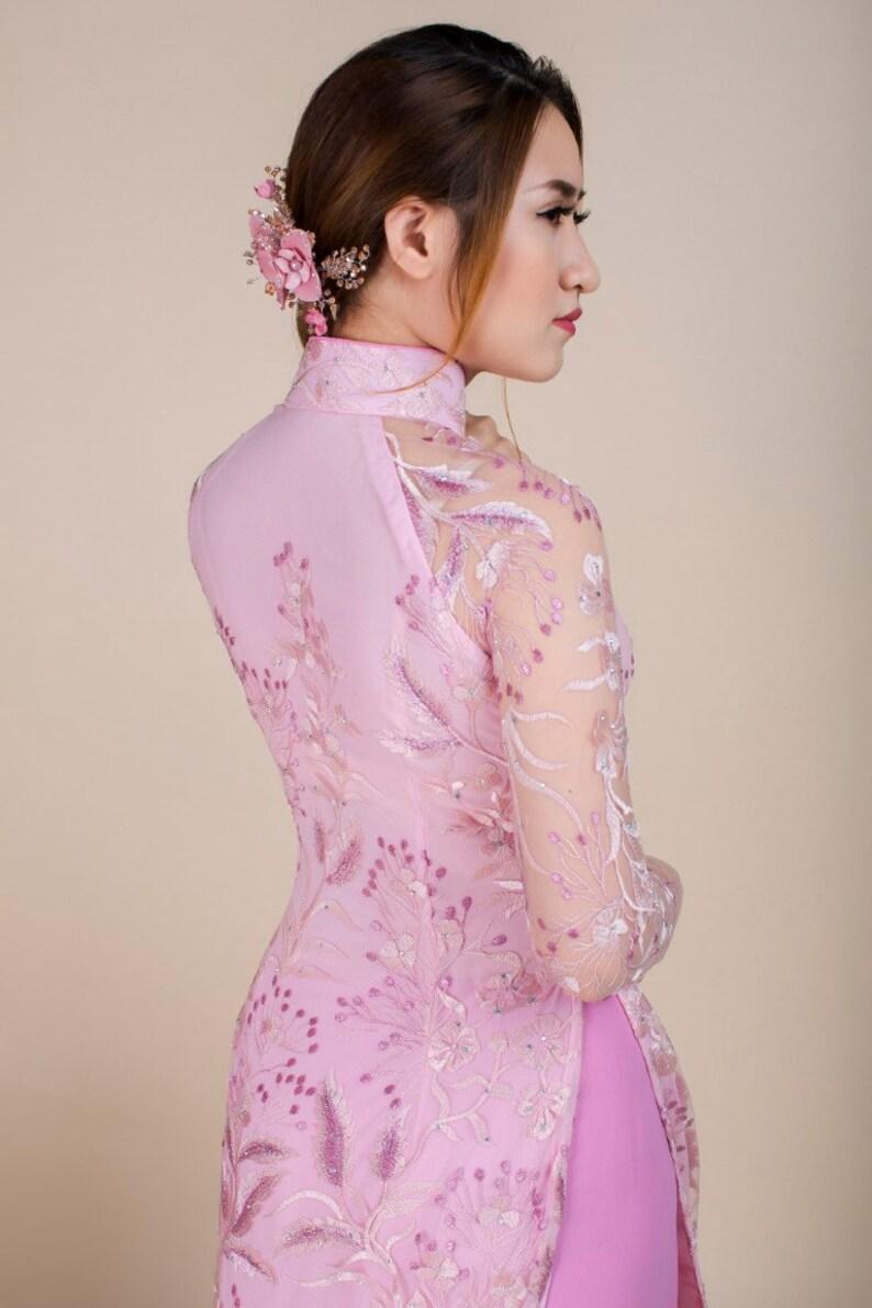 be34d2c1 Pink lace and chiffon ao dai. | Etsy