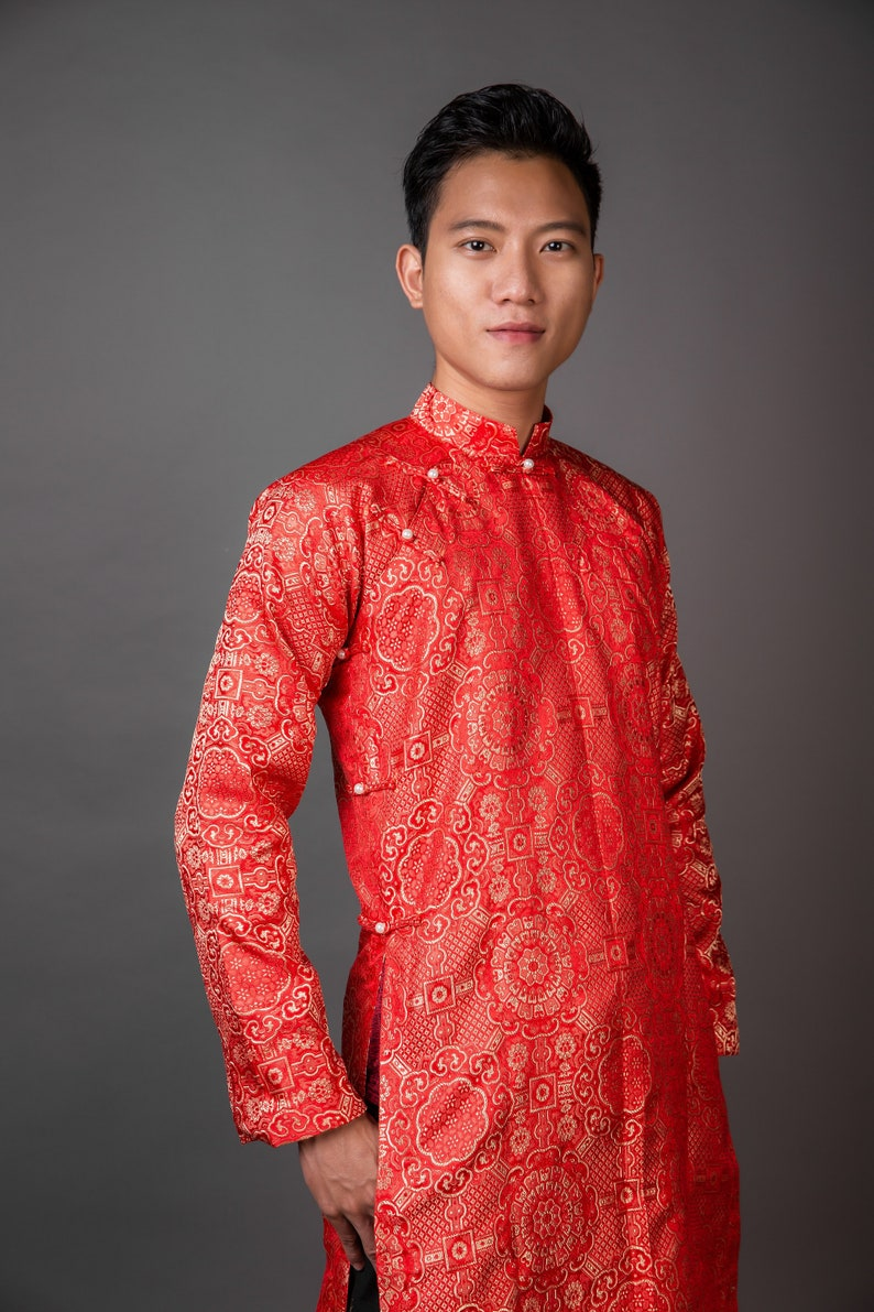 Vietnamese national clothing Free custom fit. Men/'s ao dai in red