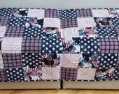 28.5 x 36.5 Americana Quilted Table Topper, Runner, Modern. 100 Quilt quality Cotton. Prints in red, white and blue. Great for 4th of July.
