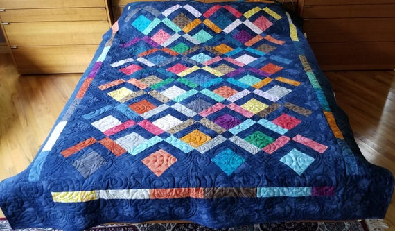 and Navy Brown Cotton Purple Green Throw or Lap Robe Quilted in Tan