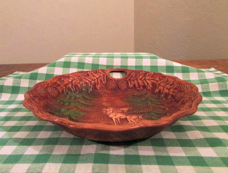 Deer in Trees Vintage Wood-Look Dish Resin Bowl