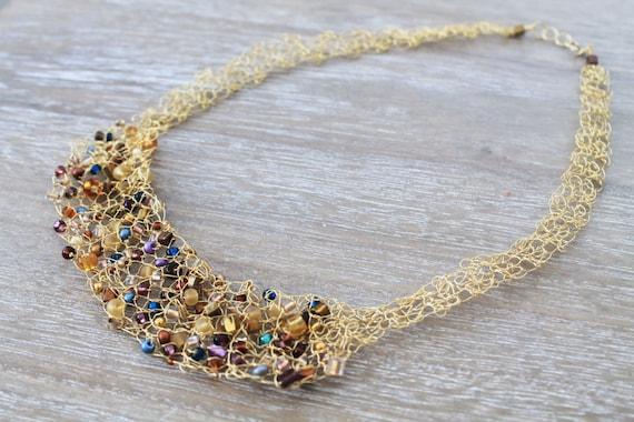 Gold Draht Häkeln Halskette Kette Perlen Gold Draht Bunte Etsy