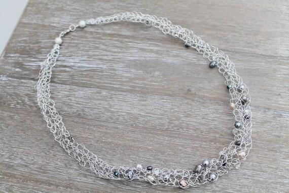 Silber Versilbert Häkeln Halskette Draht Süßwasserperlen Etsy