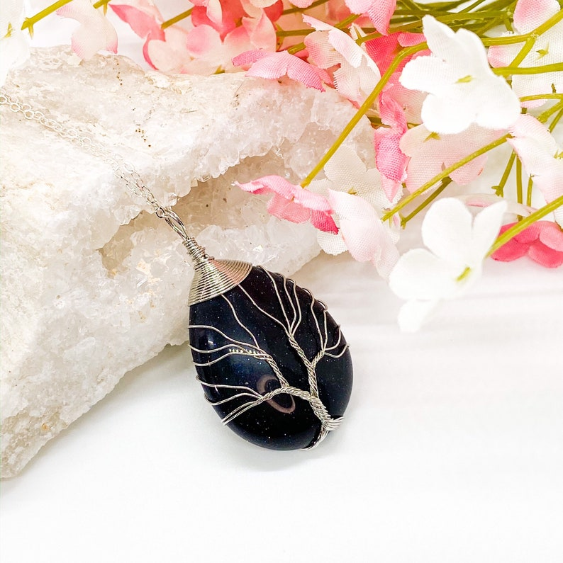 Blue Goldstone.Tree of Life,Wire wrapped Sparkly Blue Goldstone With Wire Wrapped Silver Tree of Life Design Pendant Necklace