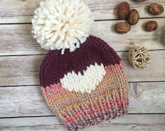 8f47146e201 Handmade Knit Hat - Pom Pom - Chunky Beanie - Child Hat - Womens Hat - Wool  Hat - Big Heart Hat - Beanie - Valentines