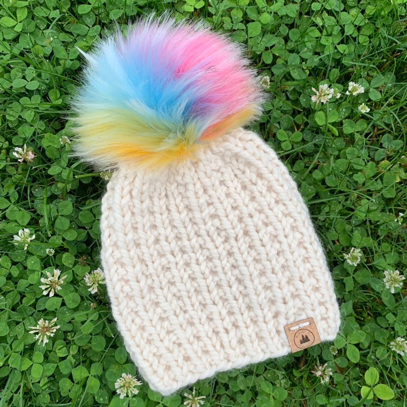 Toddler Hat Chunky Knit Pompom Beanie  Blue Green  Chunky Hat Faux Fur Pompom  Wool Winter Hat Toque  Child Hats for Kids