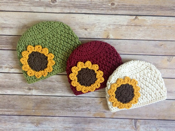 Crochet Sunflower Hat Fall Hat Cotton Hat Beanie  cf0dd1114
