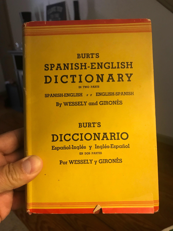 1943 Burts Spanish English Dictionary   Vintage spanish english   Antique  spanish english   Vintage book   Antique book   Burts dictionary