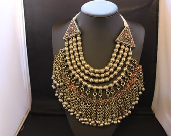 Afghan Big Chunky Statement Necklace Stones Traditional Tribal