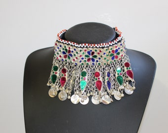 Afghan Big Chunky Statement Necklace Choker Stones Traditional Tribal