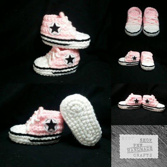 Baby Converse Crochet Baby Booties Crochet Baby Converse Etsy