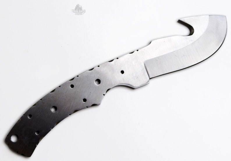 High Carbon 1095 Steel Guthook Knife Blank Blade Hunting Skinning Skinner  1095HC Blanks Blades Custom Making High Carbon [H-BLANK-23-1095]