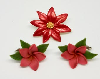 Christmas Jewelry Sets, Poinsettia Earrings and Pin Set / Red Christmas Flowers, Holiday Jewelry / Vintage things, Gift for her