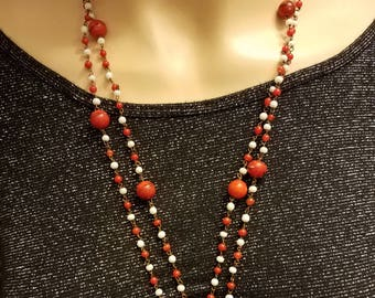 Flapper Necklace, Long Beaded necklace, Downton Abbey, Gift for her, Glass Bead, Gift for mom, Edwardian Jewelry